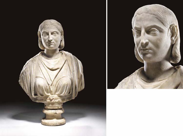 A ROMAN MARBLE PORTRAIT BUST OF JULIA AQUILIA SEVERA