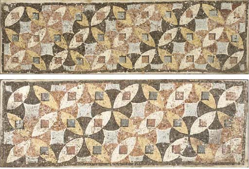 TWO ROMAN MARBLE MOSAIC PANELS