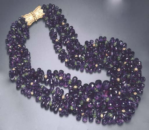 A THREE-STRAND AMETHYST AND PE