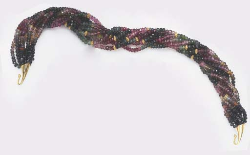A MULTI-STRAND TOURMALINE NECK