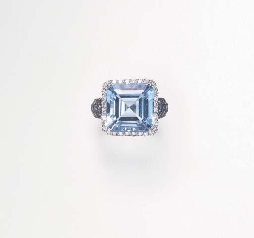 A TOPAZ, SAPPHIRE AND DIAMOND