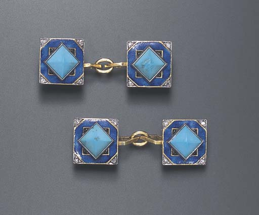 A PAIR OF ART DECO TURQUOISE,