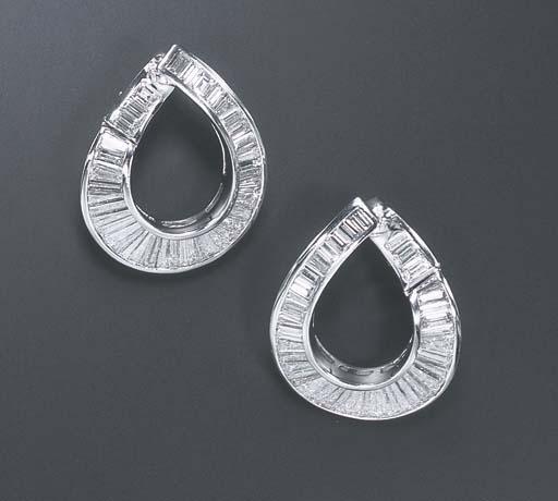 A PAIR OF DIAMOND EAR HOOPS