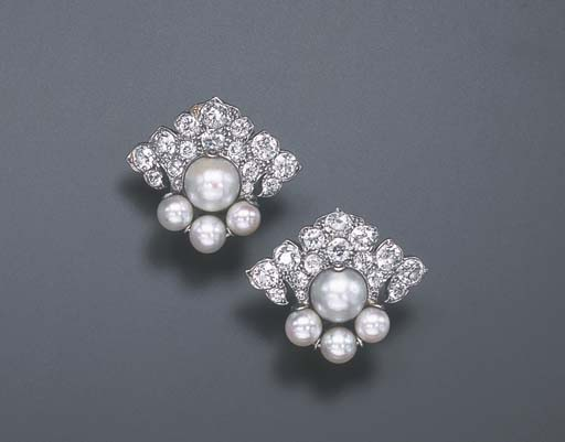 A PAIR OF ART DECO PEARL AND D
