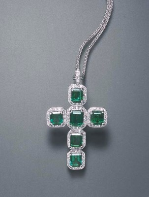 AN EMERALD AND DIAMOND CROSS P