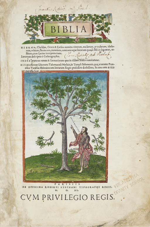 BIBLE, Latin. Biblia Hebrae, C