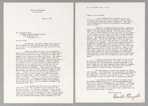 WRIGHT, Orville. Typed letter