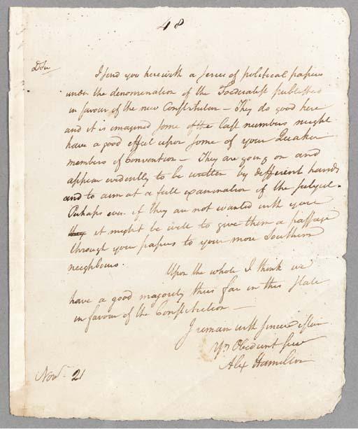 HAMILTON, Alexander. Autograph