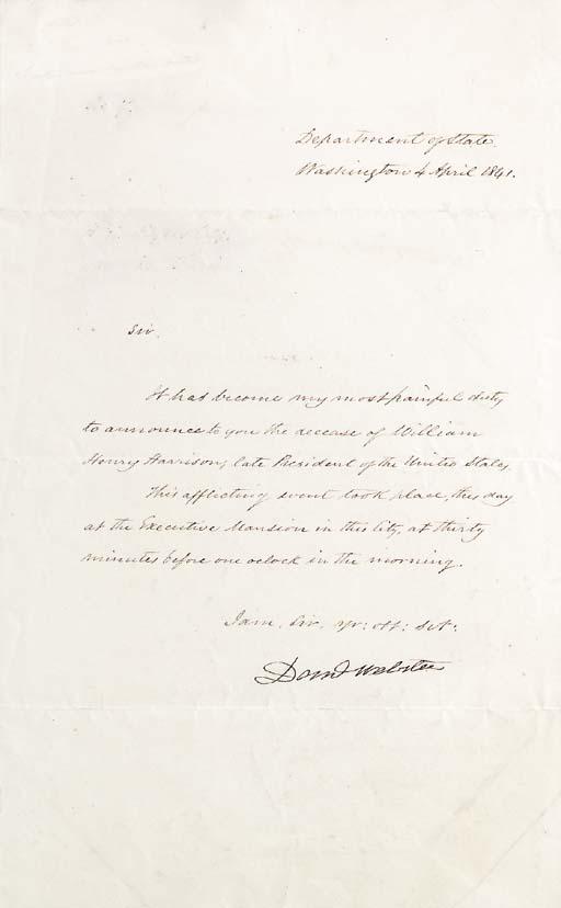 WEBSTER, Daniel (1782-1852). L