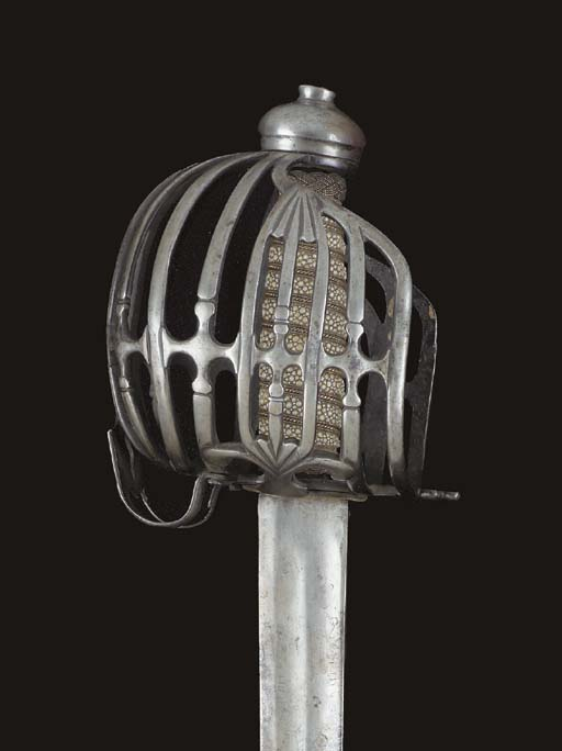 A ENGLISH BASKET-HILTED BACKSW