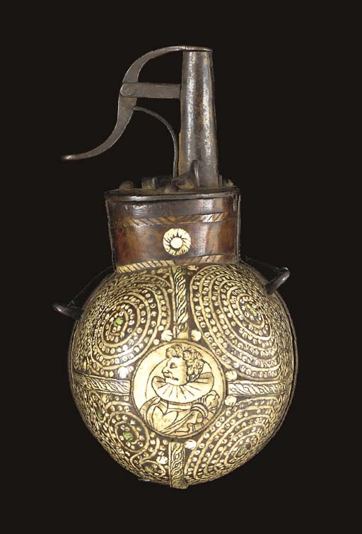 A GERMAN WOODEN POWDER-FLASK