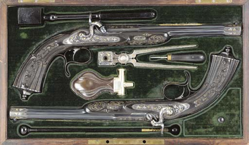 A CASED PAIR OF .46 PERCUSSION