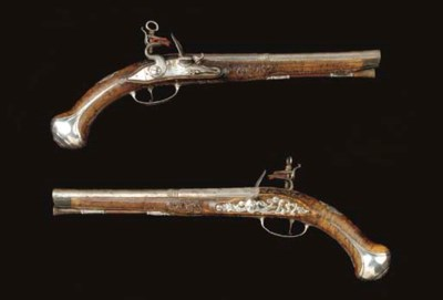 A PAIR OF .65 SILVER-MOUNTED M