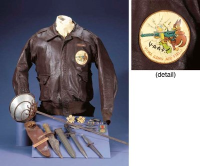 AN OFFICER'S LEATHER JACKET, U