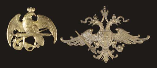 TWO LARGE CAST BRASS ARMORIAL
