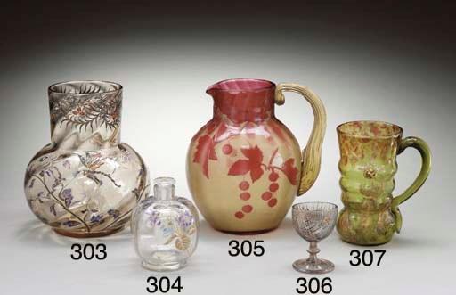 AN ENAMELED AND GILT GLASS VAS