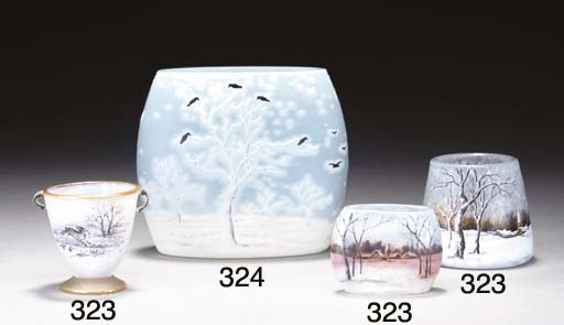 THREE ETCHED AND ENAMELED GLAS