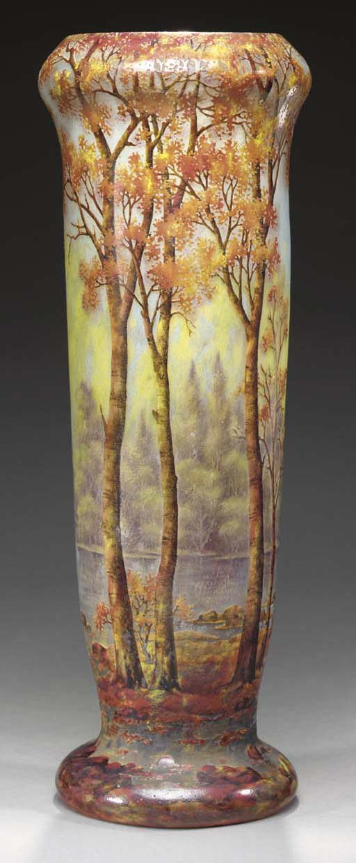 AN ETCHED AND ENAMELED GLASS S