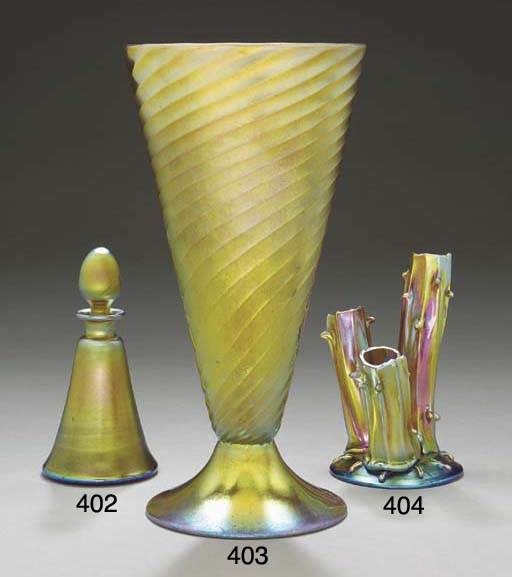 A GOLD AURENE GLASS 'TREE TRUN
