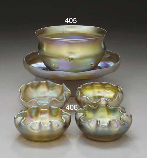 FOUR GOLD FAVRILE GLASS SALT D
