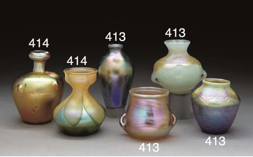 TWO FAVRILE GLASS CABINET VASES
