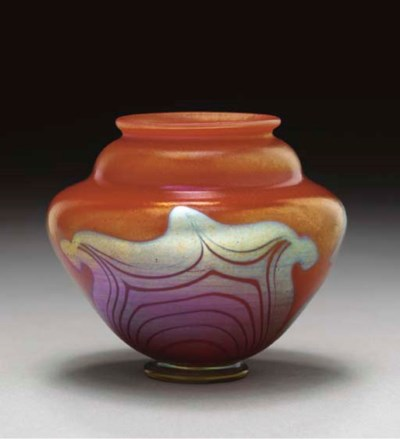 A DECORATED RED FAVRILE GLASS