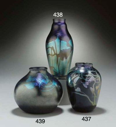 A DECORATED BLUE FAVRILE GLASS