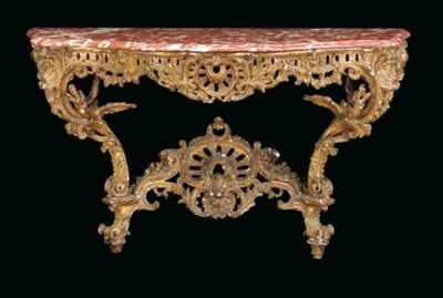 AN EARLY LOUIS XV GILTWOOD CON