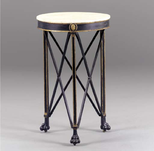 AN EMPIRE STYLE BLACK AND GILT