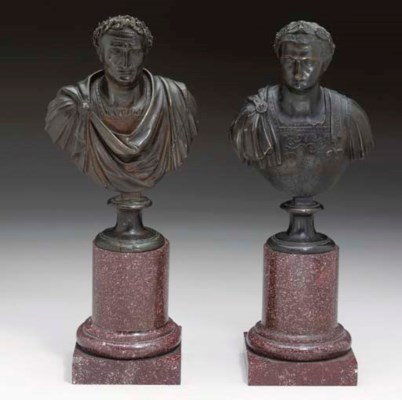 A PAIR OF ITALIAN BRONZE BUSTS
