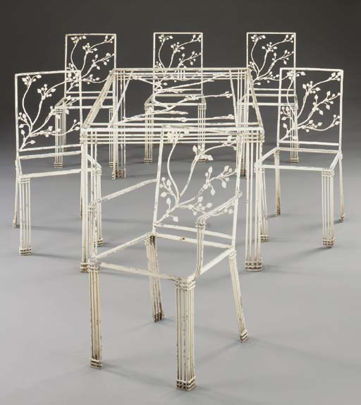 A SUITE OF WHITE-PAINTED METAL
