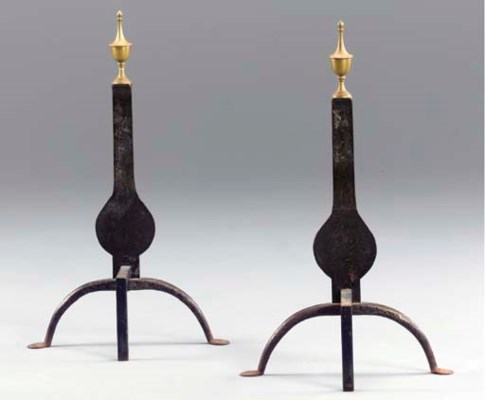 A PAIR OF AMERICAN BRASS AND W
