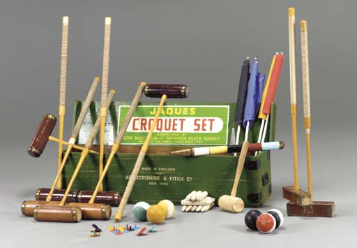 AN ENGLISH CROQUET SET BY JAQUES FOR ABERCROMBIE & FITCH
