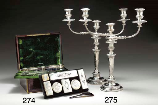 A PAIR OF REGENCY SILVER THREE