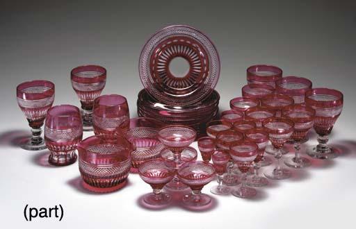 A CRANBERRY FLASH CUT GLASS PA