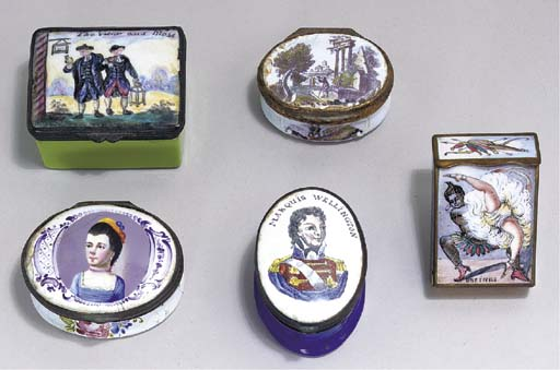 FOUR SNUFF BOXES AND MATCH BOX