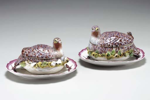 A PAIR OF BOW PARTRIDGE TUREEN