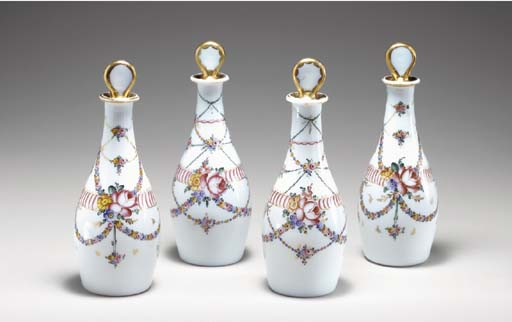FOUR FRENCH WHITE OPAQUE GLASS