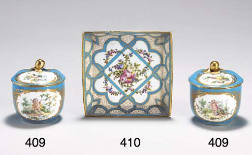 TWO SEVRES LATER-DECORATED TUR