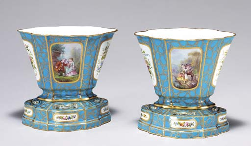 A PAIR OF SEVRES STYLE GILT CA