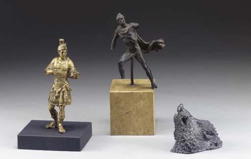 Three patinated bronze and met
