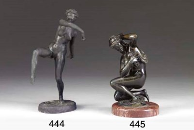 A French patinated-metal figur