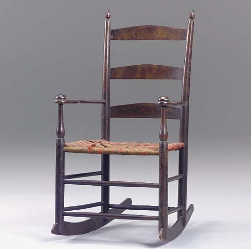 A SHAKER STAINED MAPLE ARMED CHILD'S ROCKER