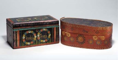 TWO PAINTED AND DECORATED BOXE