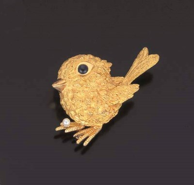 BROCHE POUSSIN SAPHIRS ET PERL