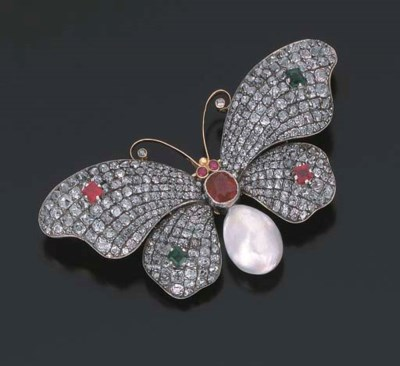 BROCHE PAPILLON RUBIS, EMERAUD