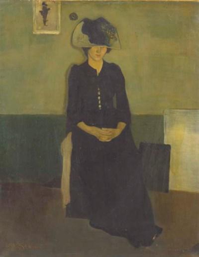 'Femme assise dans un intérieu