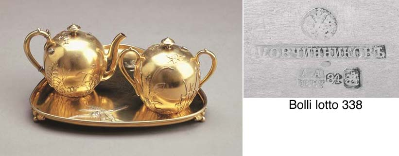 Servizio da tè in argento dora