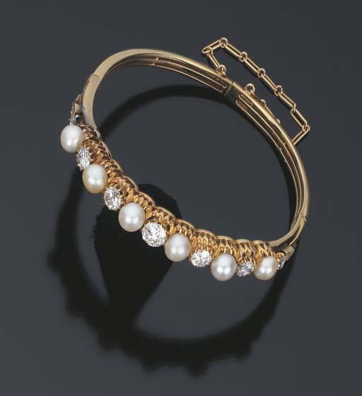 Bracciale con perle coltivate e brillanti