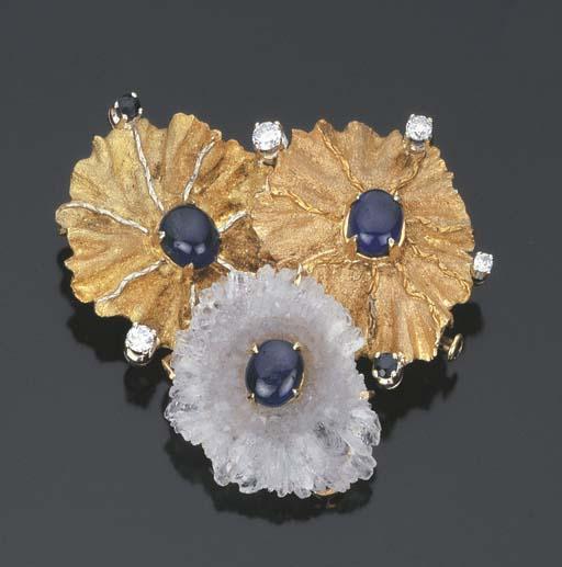 Spilla pendente con zaffiri e brillanti, firmata Tiffany & Co.
